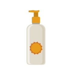 Silhouette with small bottle of sunscreen vector