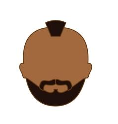 Color criminal man face icon vector