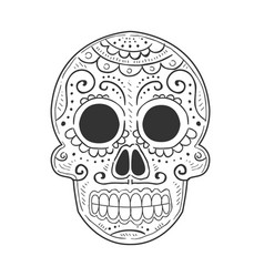Traditional mexican painted scull dia de muertos vector