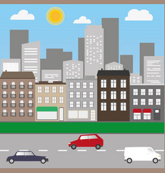 city landscape with cars and shops vector image