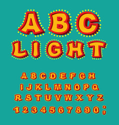 light abc retro alphabet with lamps glowing vector image