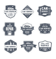 car repair - vintage set of logos vector image