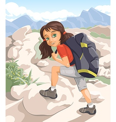 Girl with a backpack vector