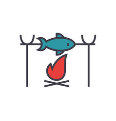 fish barbecue camping flat line vector image