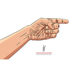 Finger pointing hand detailed hand sign vector