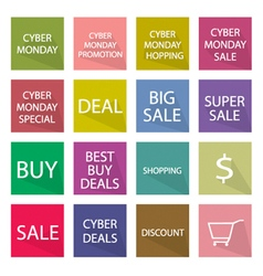 Collection of cyber monday banner for special pric vector