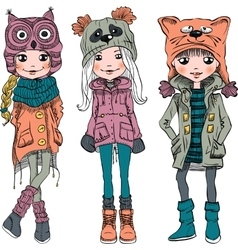 Set cute girls in funny hats vector