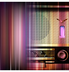 Abstract blue music background with retro radio vector