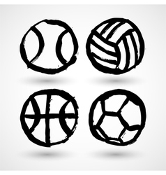 Set of grunge sport balls icons vector