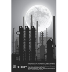 Oil and gas refinery at night vector