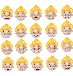 Cartoon little boy various face expressions vector
