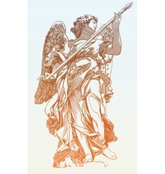 Original sketch digital drawing of marble statue vector