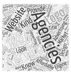 Affordable advertising agencies word cloud concept vector