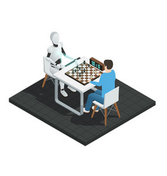 artificial intelligence isometric composition vector image vector image