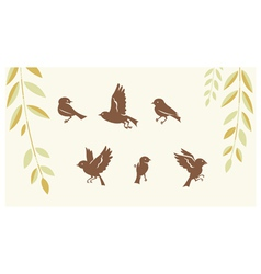 Birds silhouette set vector