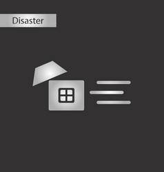 Black and white style icon wind destroys house vector
