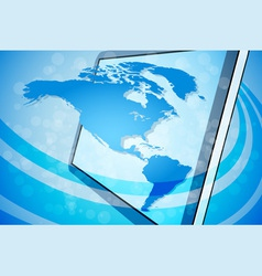 Blue World Map Background vector image vector image