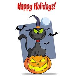 Cat halloween cartoon vector image vector image