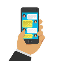 chatting with chatbot on phone vector image
