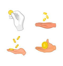 coin in hand icon set cartoon style vector image vector image