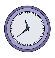 Colorful silhouette with wall clock in purple vector