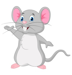 Cute mouse cartoon waving vector