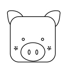 Cute pig animal head expression vector