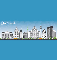 dortmund skyline with gray buildings and blue sky vector image