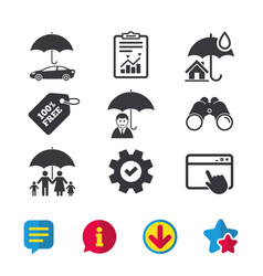 Family real estate or home insurance icon vector