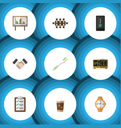 Flat icon lifestyle set of whiteboard timer vector