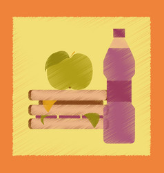 Flat shading style icon sandwich apple water vector