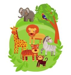 Funny cartoon animals in green jungle vector