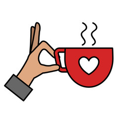 hand with coffee cup with heart vector image