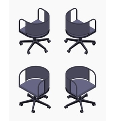 Isometric office spinning black chairs vector