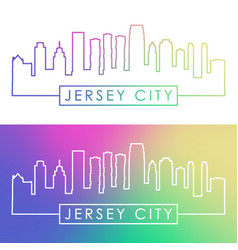 jersey city skyline colorful linear style vector image