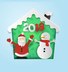 joyful santa and snowman celebrate new year 2018 vector image vector image