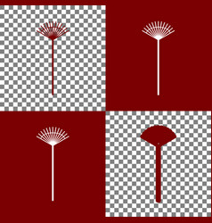 Lawn rake sign bordo and white icons and vector