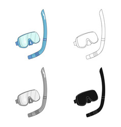 mask and tube for diving icon in cartoon style vector image vector image