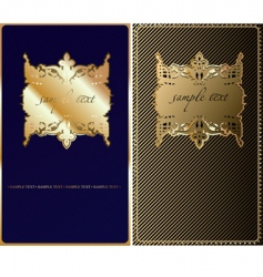retro gold blue cover background vector image vector image
