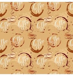 Seamless pattern with coffee cups coffee stain cal vector image vector image