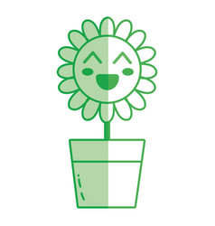 Silhouette kawaii beauty and happy flower plant vector