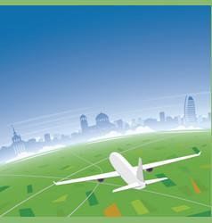 sofia skyline flight destination vector image vector image