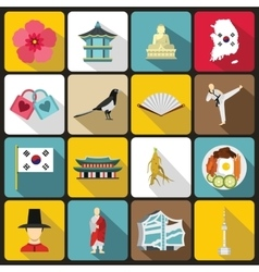 South Korea icons set flat style vector image