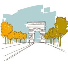 Triumphal arch hand drawn Paris vector image