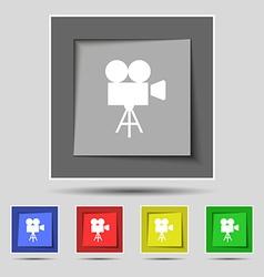 Video camera icon sign on original five colored vector image