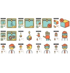Virtual reality and 3d technology line icon set vector
