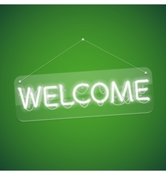 White glowing neon welcome sign vector