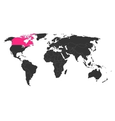 World map with highlighted canada vector