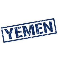 Yemen blue square stamp vector