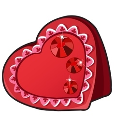 Red box in heart shape with ruby jewels vector image
